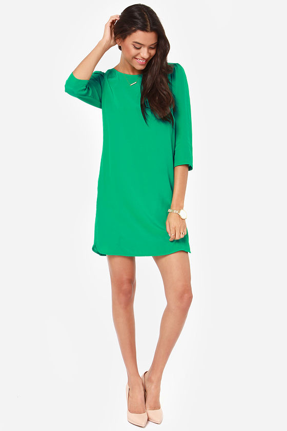 Cute Green Dress - Shift Dress - Dress with Sleeves - $70.00