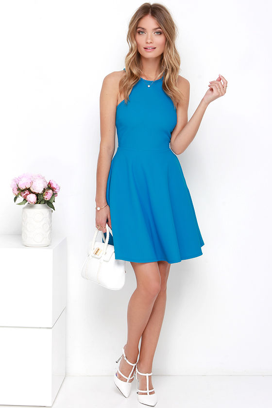 Lovely Blue Dress - Skater Dress - Racerback Dress - $44.00
