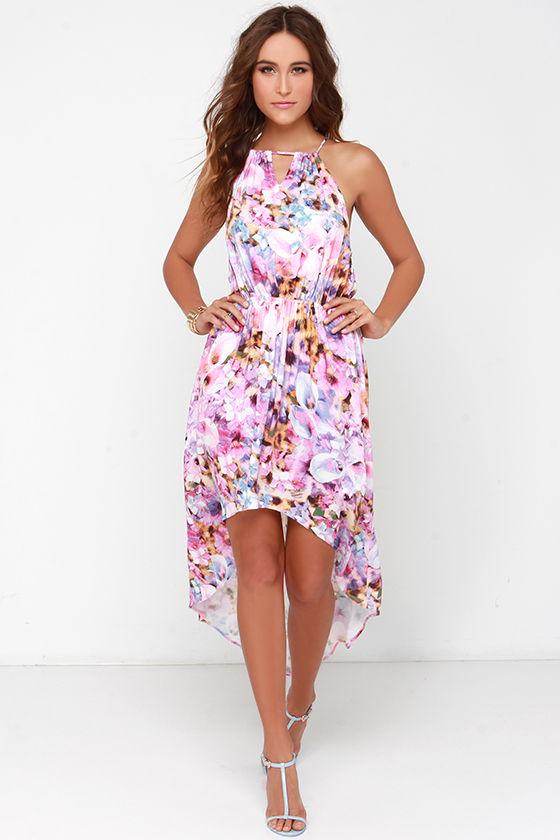 Mink Pink My Sweet Garden - Pink Floral Print Dress - High-Low Dress ...