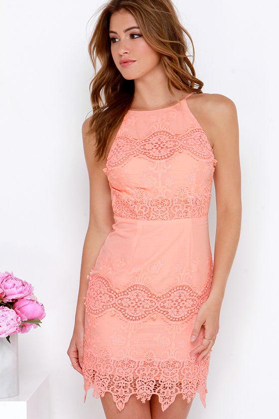 Pretty Peach Dress - Apron Dress - Lace Dress - $68.00