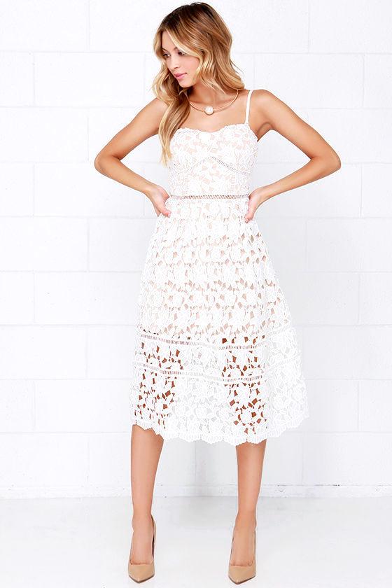 Lace Dress - Ivory Dress - Midi Dress - White Dress - $64.00