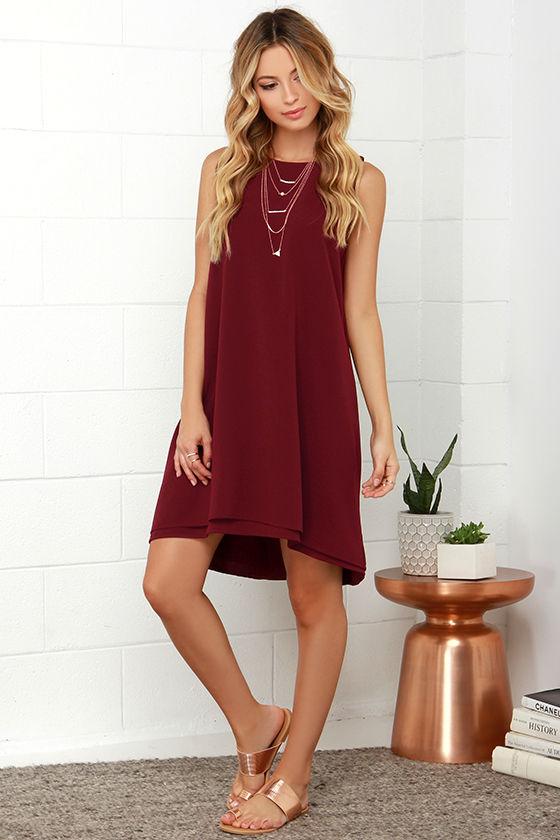BB Dakota Kenna Maroon High-Low Dress
