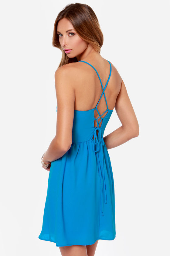 Cute Bright Blue Dress Sleeveless Dress Fit And Flare Dress 4500