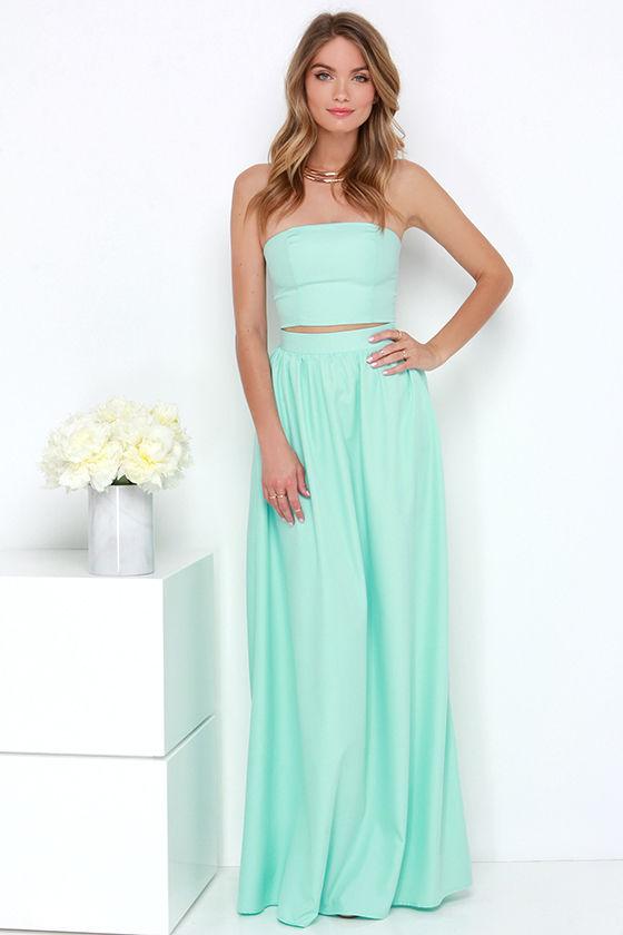 Chic Mint Dress - Two-Piece Dress - Maxi Dress - Strapless Dress ...