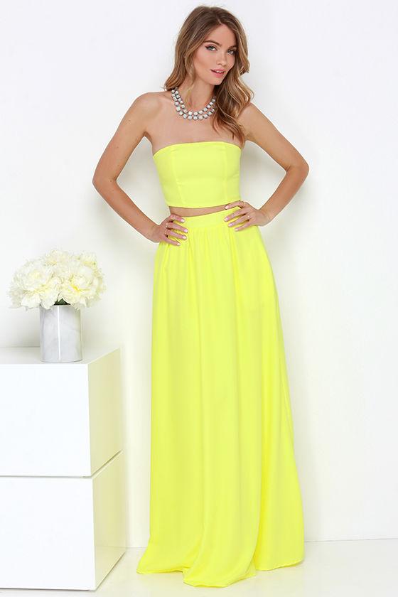 Chic Yellow Dress - Two-Piece Dress - Maxi Dress - Strapless Dress ...