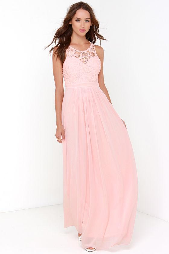 Lovely Peach Dress - Lace Dress - Maxi Dress - Backless Dress - $68.00