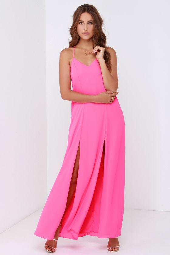 Hot Pink Dress - Maxi Dress - $48.00