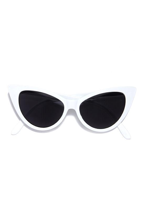 Chic White Sunglasses - Cat-Eye Sunglasses - $11.00