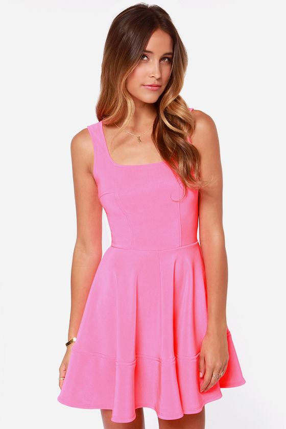 Pretty Pink Dress - Skater Dress - Neon Dress - $42.00