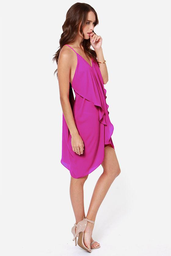 Sexy Magenta Dress Tiered Dress T Strap Back 4700