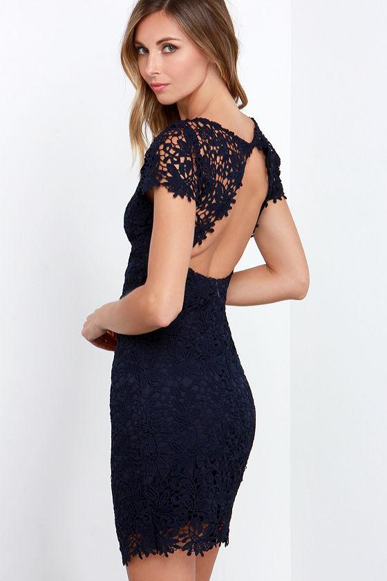 Lace Dress - Backless Dress - Navy Blue Dress - $74.00