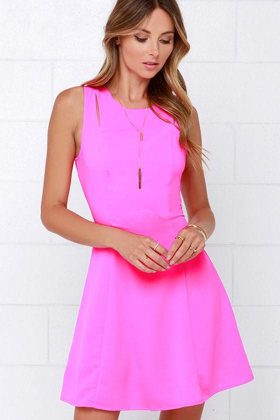 Cute Neon Pink Dress A Line Dress Cutout Dress 7000