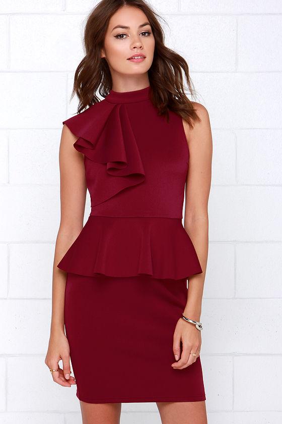 Chic Wine Red Dress Ruffle Dress Peplum Dress 5400
