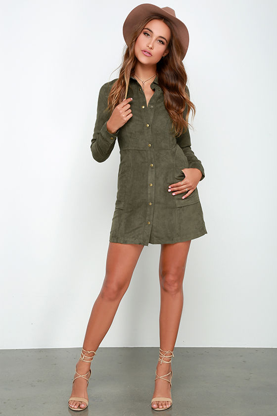 Olive Green Outfit Of The Day: Long Sleeve Dress