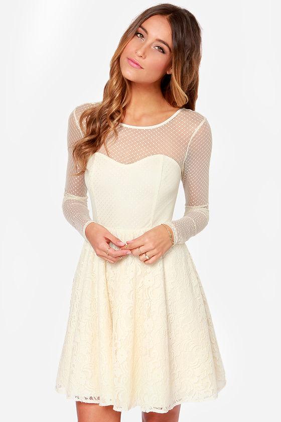 Pretty Cream Dress Lace Dress Long Sleeve Dress 7100