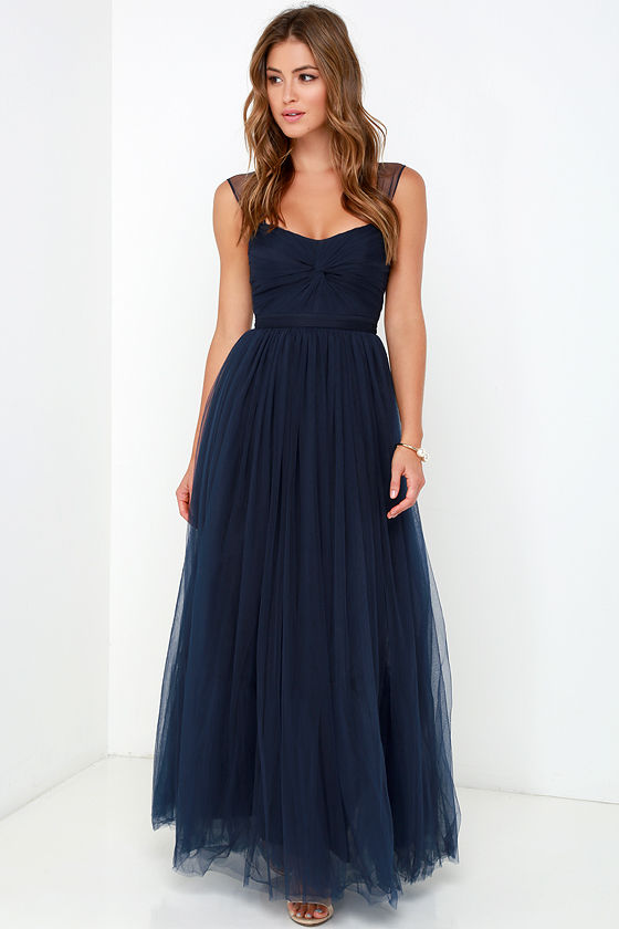 Navy Blue Gown Tulle Dress Maxi Dress 9800