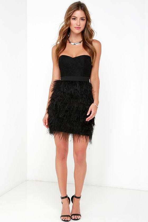 Feather Dress Strapless Dress Black Dress Lace Dress 15400