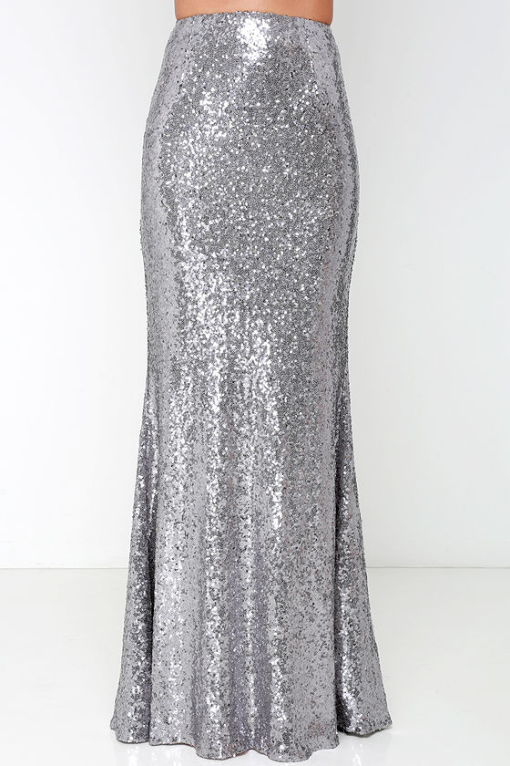 dabe4a785f7 Kickin  Up Stardust Silver Sequin Maxi Skirt