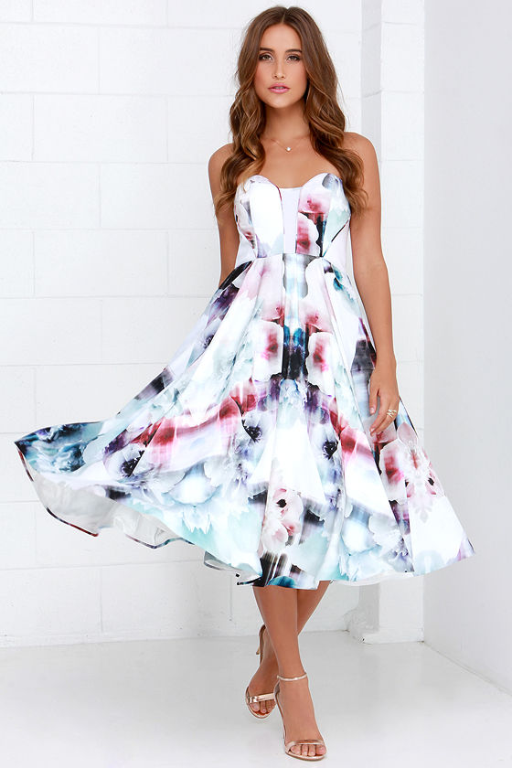 Gorgeous Floral Print Dress - Midi Dress - Floral Gown - $298.00