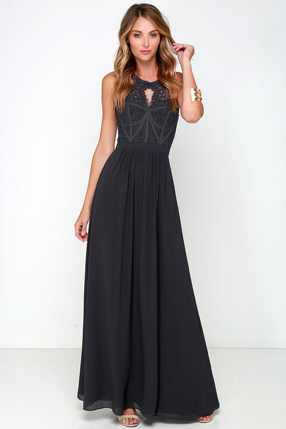Dark Blue Grey Gown Maxi Dress Bridesmaid Dress Prom Dress