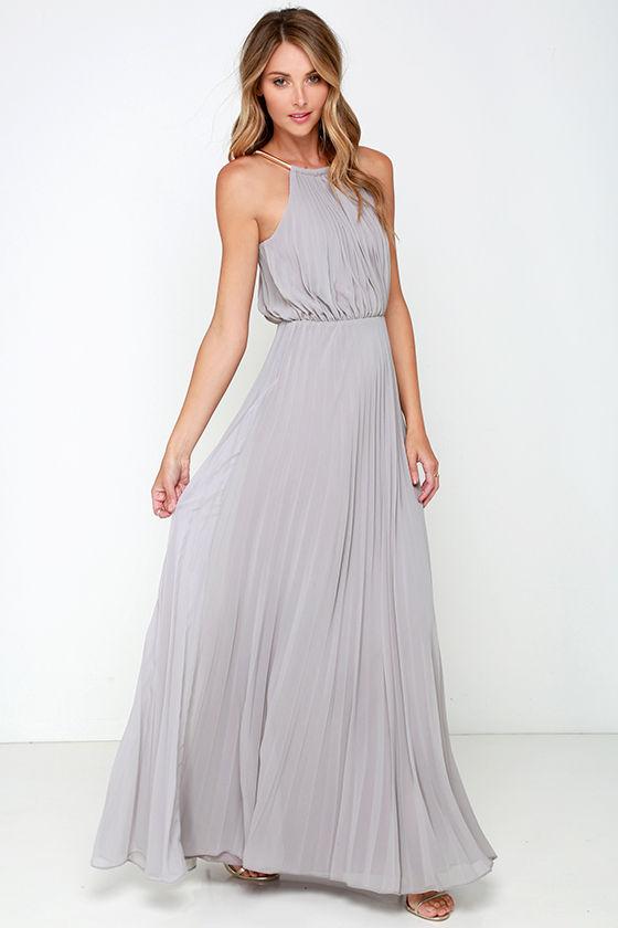 Bariano Melissa Dress - Light Grey Dress - Maxi Dress - $228.00