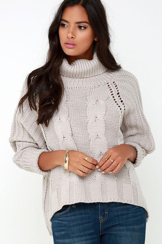Light Grey Sweater Oversized Sweater Turtleneck Sweater 12900