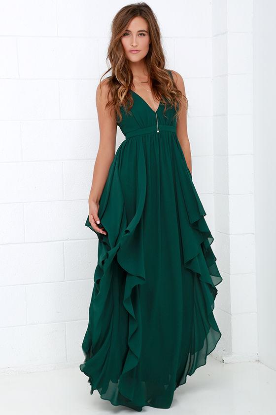 Beautiful Dark Green Maxi Dress - Prom Dress - Bridesmaid Dress - $98.00
