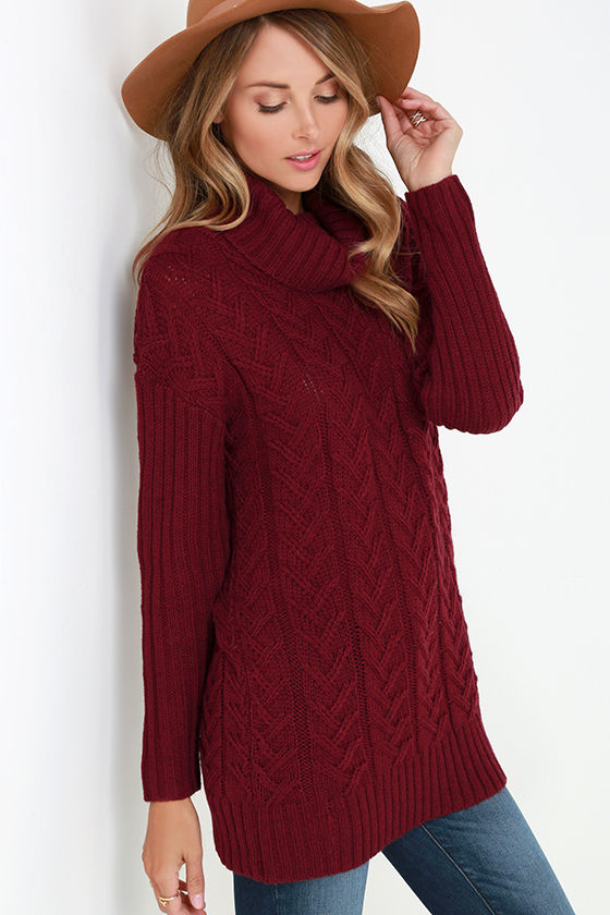 Burgundy Sweater Cable Knit Sweater Turtleneck Sweater 6900