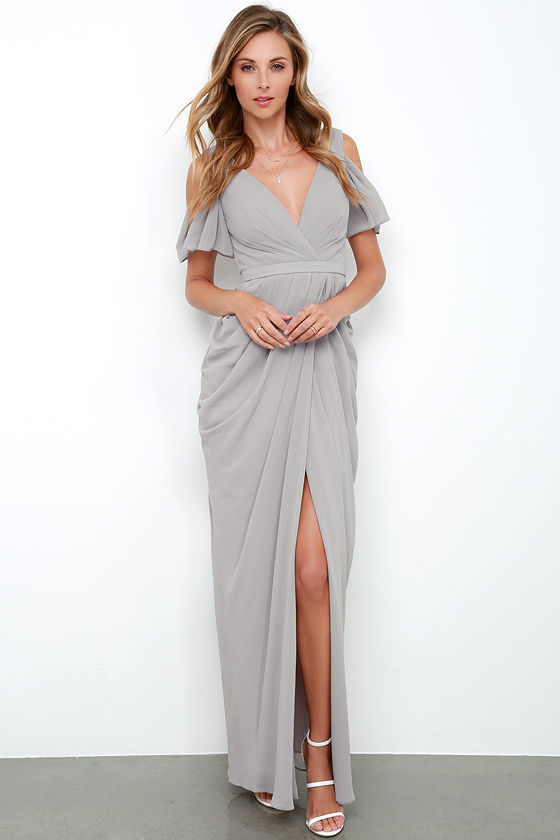 Bariano Dress - Grey Gown - Maxi Dress - $254.00