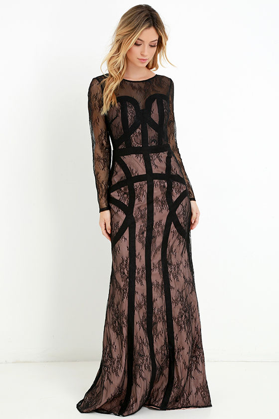 Bariano Dress - Black Lace Gown - Long Sleeve Dress - Maxi Dress ...