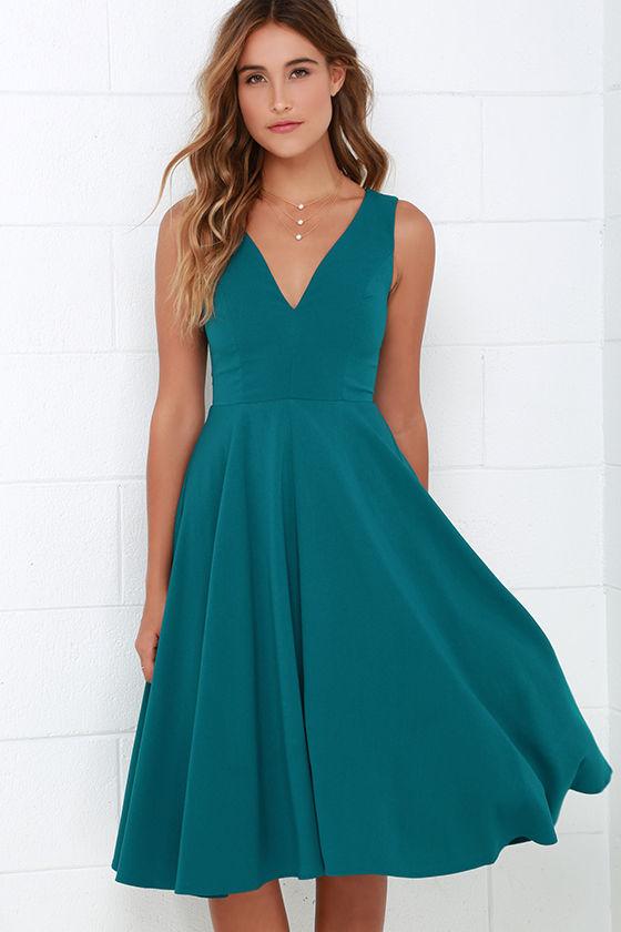 Lovely Teal Blue Dress Midi Dress Sleeveless Dress 4900