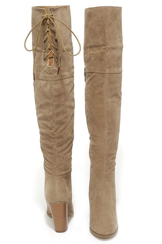 Chic Black Vegan Suede Boots - Slouchy Knee High Heel