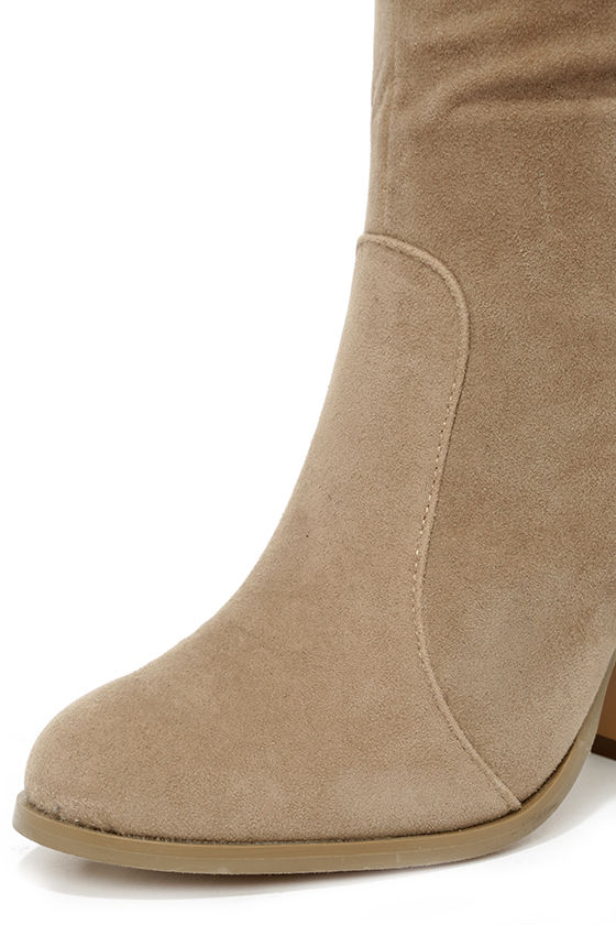 Chic Tan Suede Boots - Knee High Boots - Vegan Suede Boots