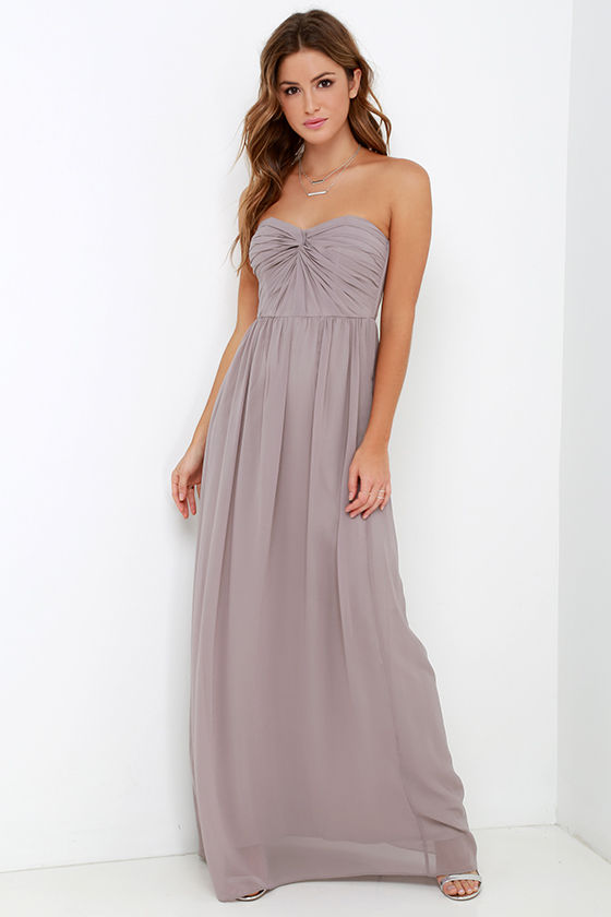 Pretty Taupe Dress - Strapless Dress - Maxi Dress - Taupe Gown - $98.00