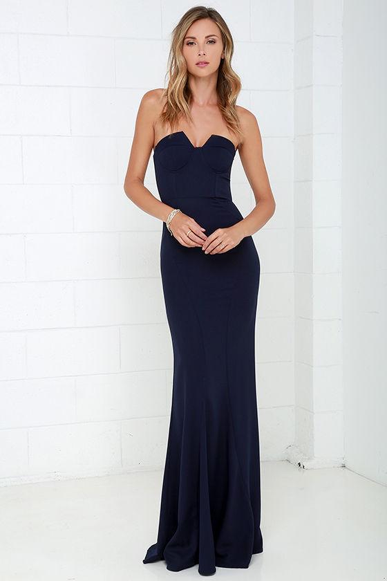 Navy Blue Gown - Strapless Dress - Bustier Dress - Maxi Dress - $78.00