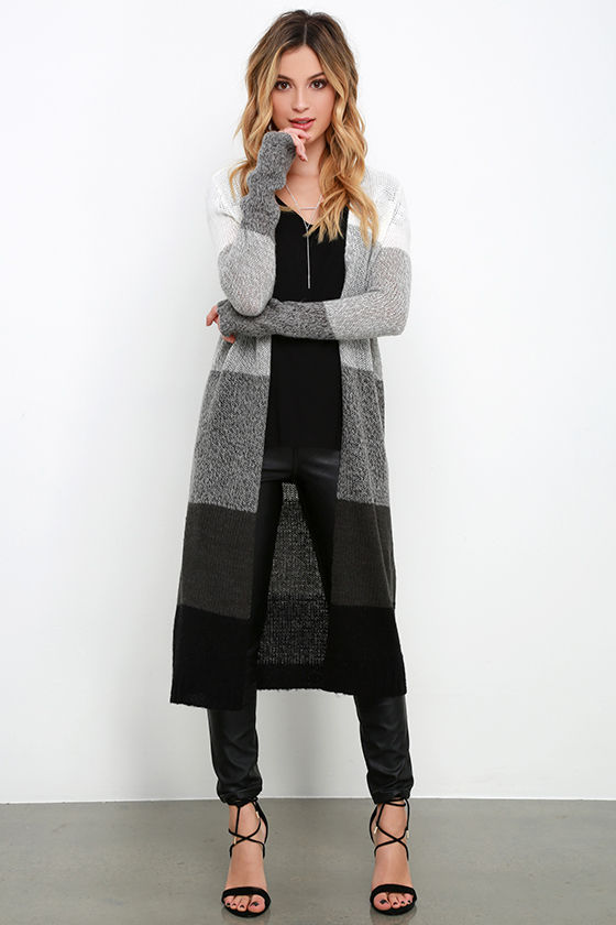 Cute Grey Striped Sweater Long Cardigan Color Block