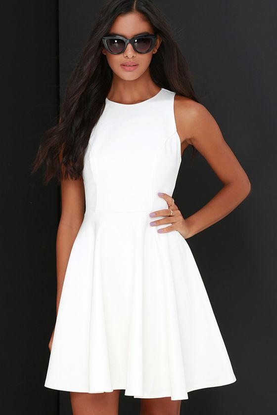 Ivory Dress - Skater Dress - Sleeveless Dress - $48.00
