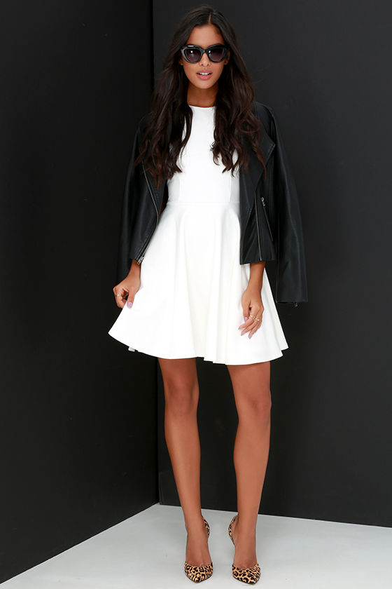 ... designer fashion a7eda df022 Stylish Ways Ivory Skater Dress ... cc0b6bce4