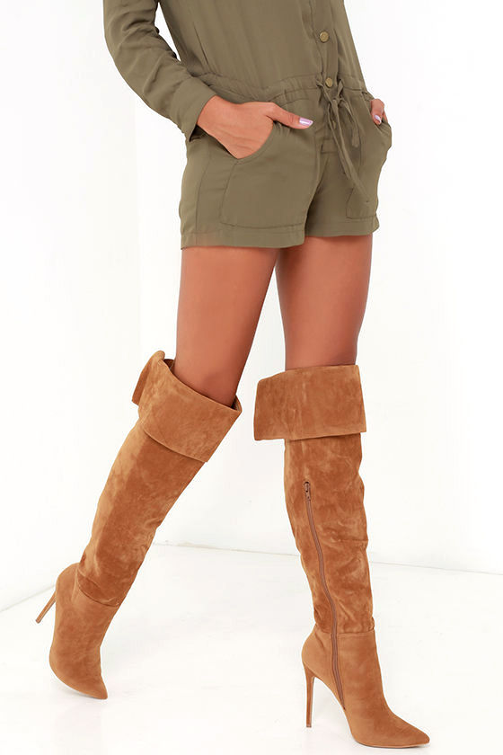 Good To Be Bad Chestnut Brown Suede Over The Knee Boots by Lulu's