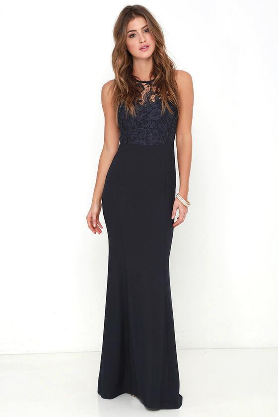 Navy Blue Gown Lace Dress Maxi Dress 7800