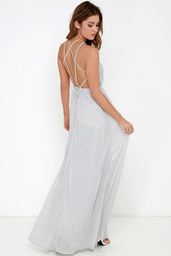 Silver Dress Maxi Dress Backless Dress Grey Dress 7400