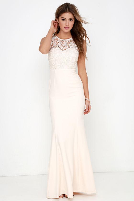 Cream Gown - Lace Dress - Maxi Dress - $78.00