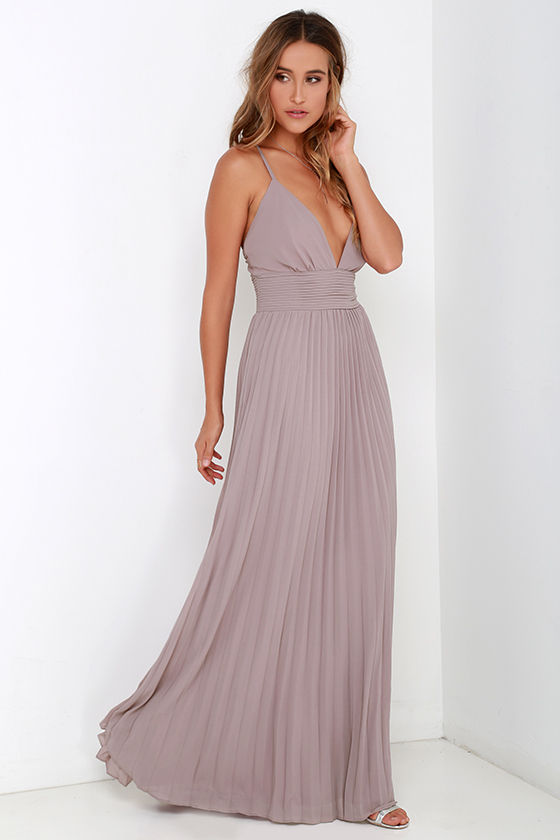 Stunning Taupe Dress - Pleated Maxi Dress - Taupe Gown - $78.00