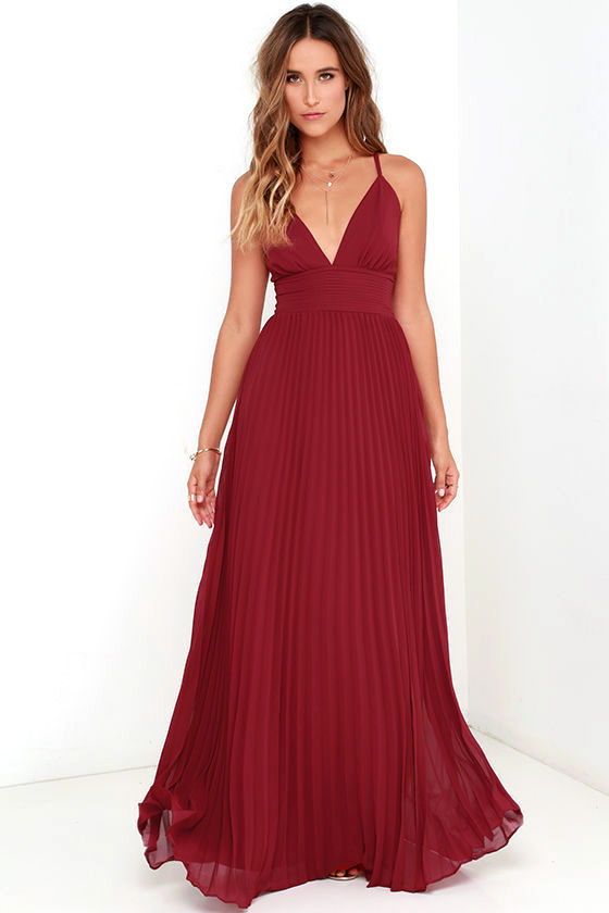Stunning Wine Red Dress Pleated Maxi Dress Red Gown 7800