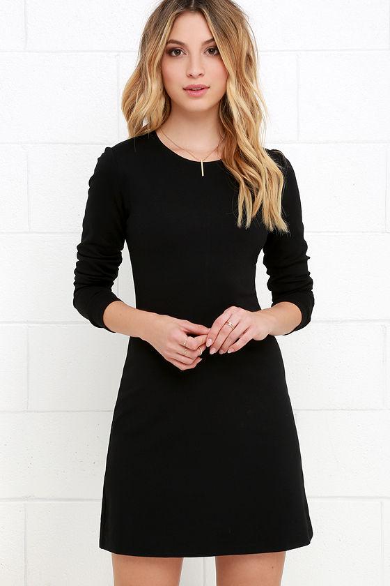 Classic Black Dress Lbd Long Sleeve Dress A Line Dress 4800