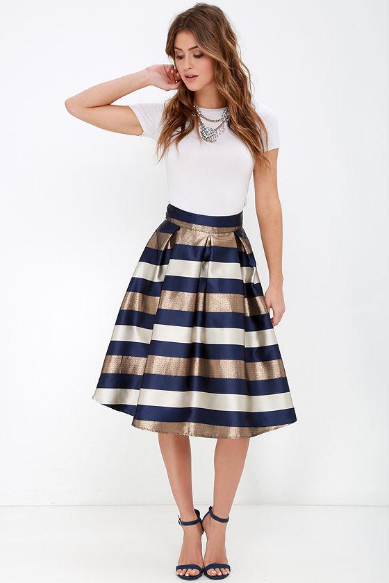 Striped Skirt - Midi Skirt