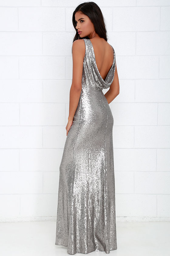 Matte Silver Dress - Maxi Dress - Sequin Gown - $78.00