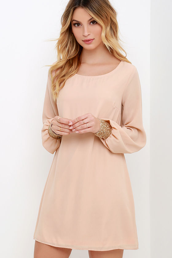 Long Sleeve Dress- Shift Dress - Blush Dress - $59.00