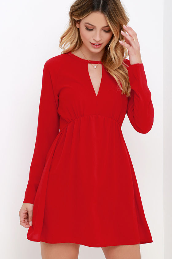 Cute Red Dress - Long Sleeve Dress - Babydoll Dress - $63.00