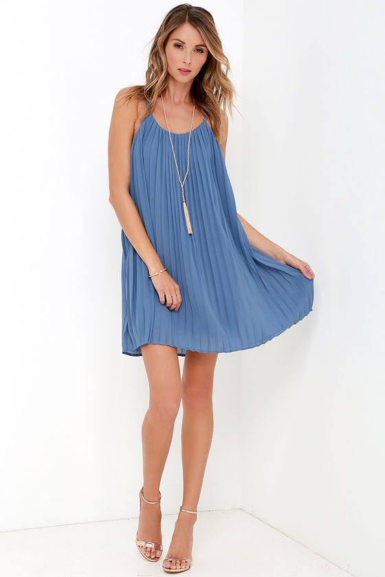 Lovely Slate Blue Dress - Pleated Dress - Shift Dress - $64.00